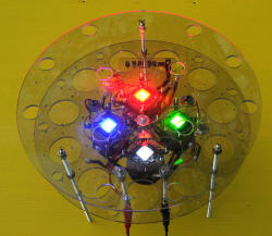 Front view of Single R, G, B and white LEDs in front array