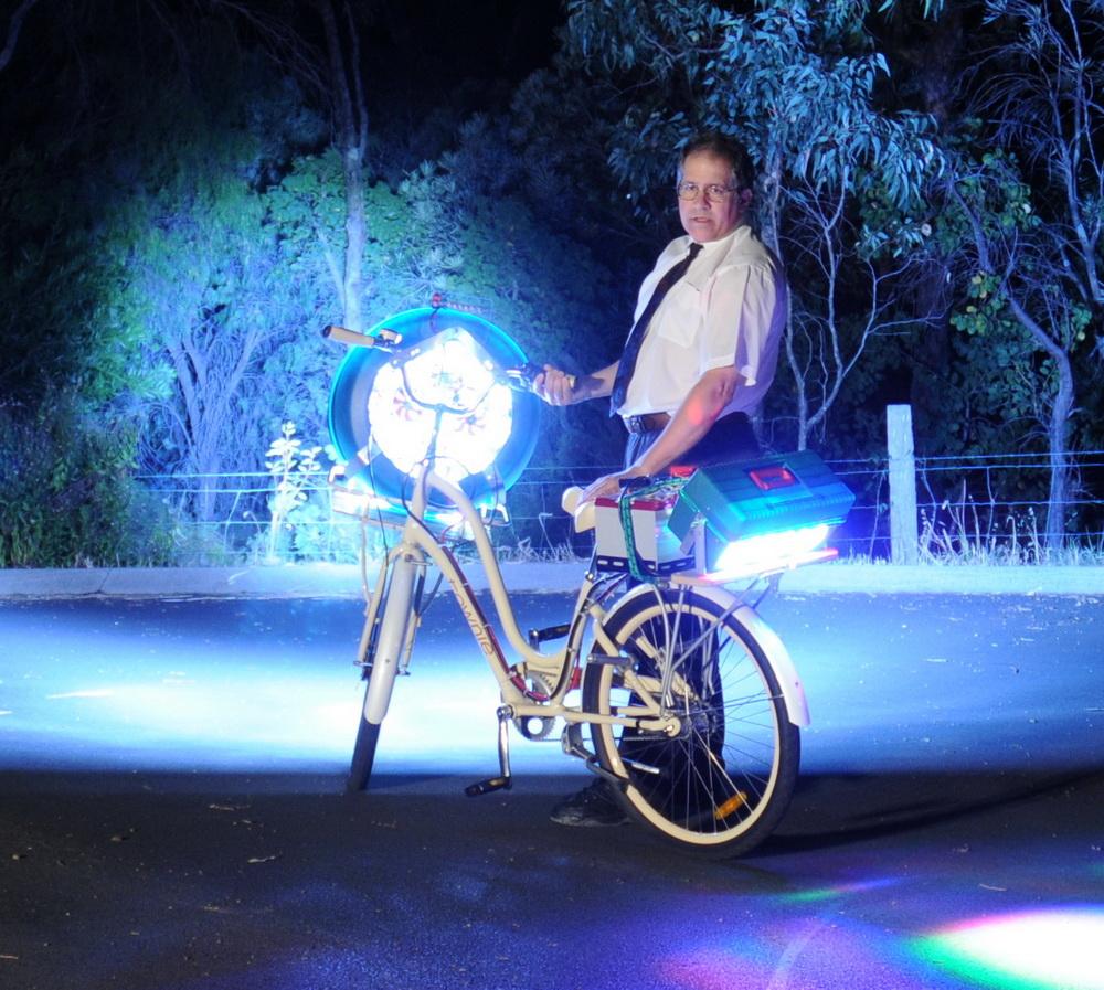 Led Bike Full Power Into Trees