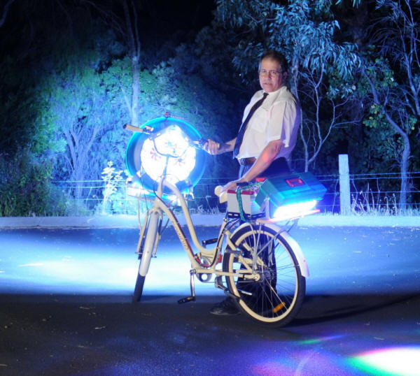 LED Bike full power into trees.